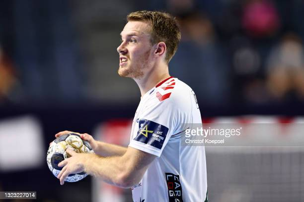 Felix Claar of Aalborg Handbold passes the ball during the VELUX EHF Champions League FINAL4 semi-final between Aalborg Handbold v Paris...