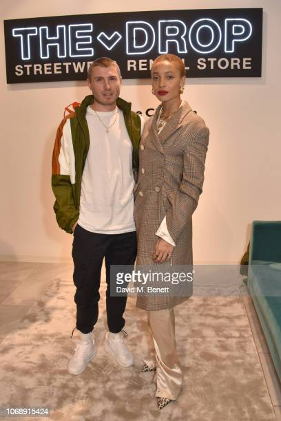 Felix Cooper and Adowah Aboah attend the opening of 'The Drop' the UK's first streetwear rental space with all profits going towards Save the...