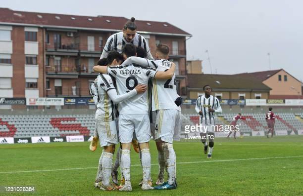 Felix Correia of Juventus U23 celebrates goal with teammates during the Serie C match between Juventus U23 and AS Livorno at Stadio Giuseppe...