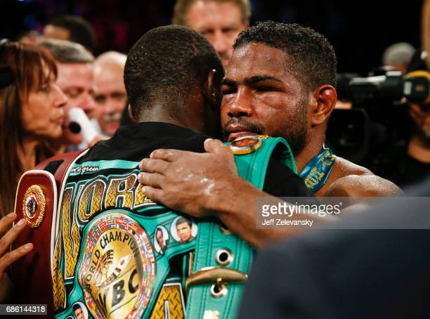 Felix Diaz greets Terence Crawford after Crawford's win during their WBO/WBC junior welterweight title bout at Madison Square Garden on May 20 2017...