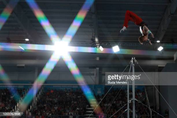 Felix Dolci of Canada competes in Men's Horizontal Bar Qualification during Day 4 of Buenos Aires 2018 Youth Olympic Games at America Pavilion of...