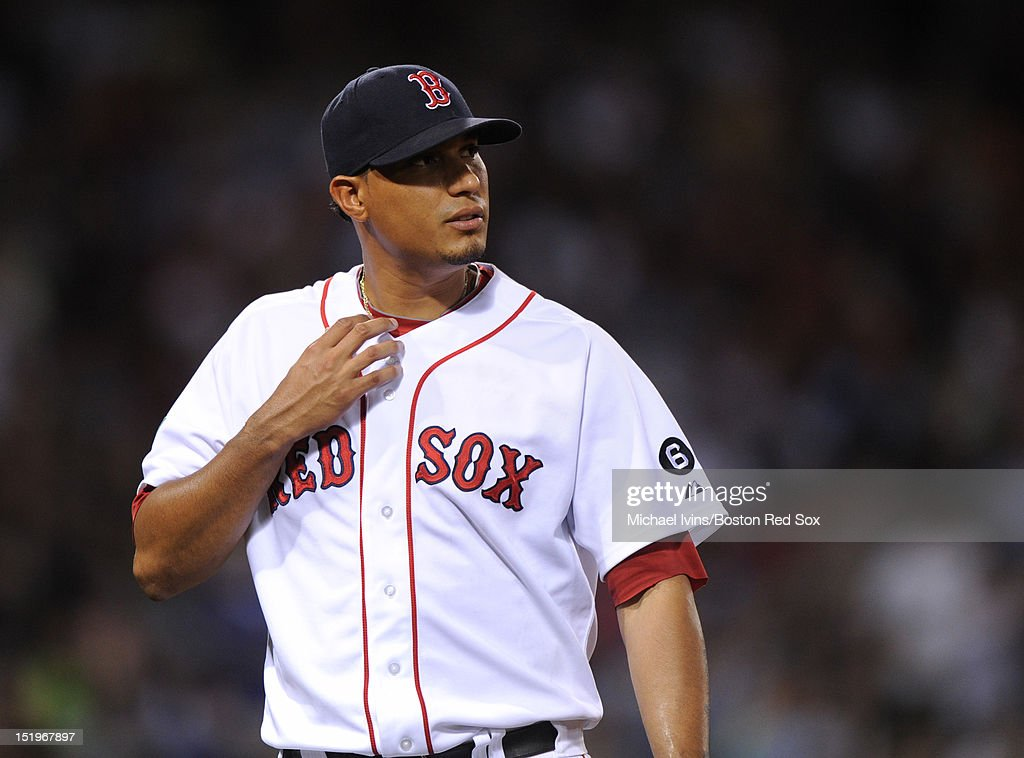 Felix Doubront #61 of the Boston Red Sox heads to the dugout after being pulled from the game against the New York Yankees in the seventh inning on September 13, 2012 at Fenway Park in Boston, Massachusetts.