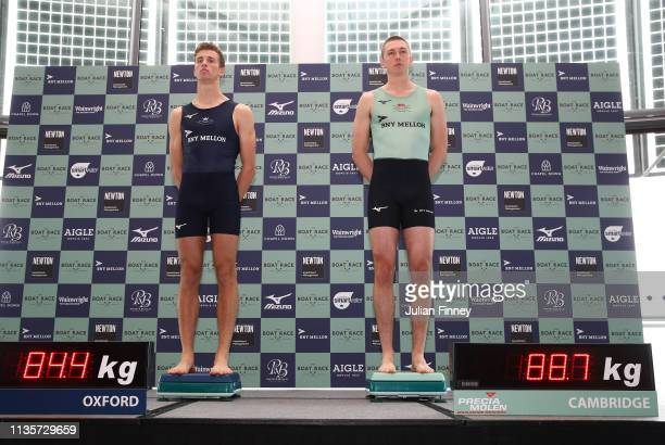 Felix Drinkall of Oxford University Boat Club and Sam Hookway of Cambridge University Boat Club weigh in during The Boat Race Crew Announcement 2019...