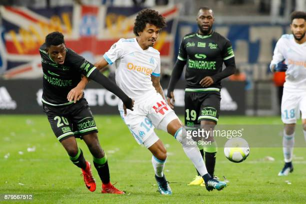 Felix EBOA EBOA of Guingamp and Luiz Gustavo of Marseille during the Ligue 1 match between Olympique Marseille and EA Guingamp at Stade Velodrome on...