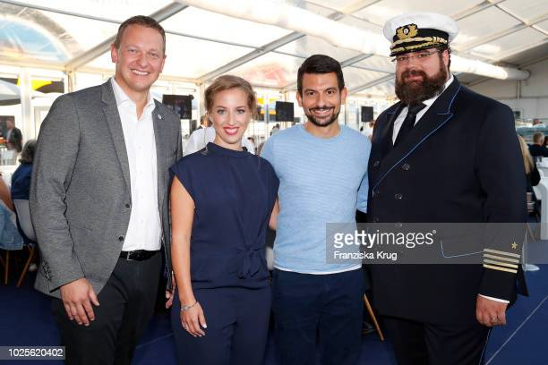 Felix Eichhorn the christening family Sonja Mirza and Asad Mirza and Captain Boris Becker during the christening of AIDAnova the first LNG cruise...