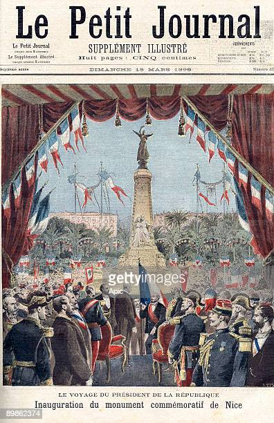 Felix Faure president of the french Republic in 1895 to 1899 with the mayor of Nice Alziary de Malaussene and the prefect Arsene Henry are unveiling...