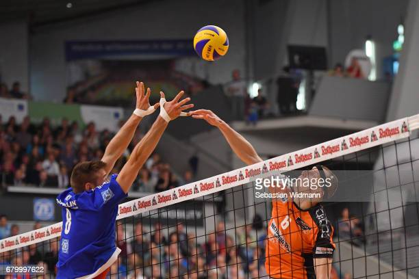 Felix Fischer of Berlin Recycling Volleys in action during the Volleyball final playoff match 3 between VFB Friedrichshafen and Berlin Recycling...