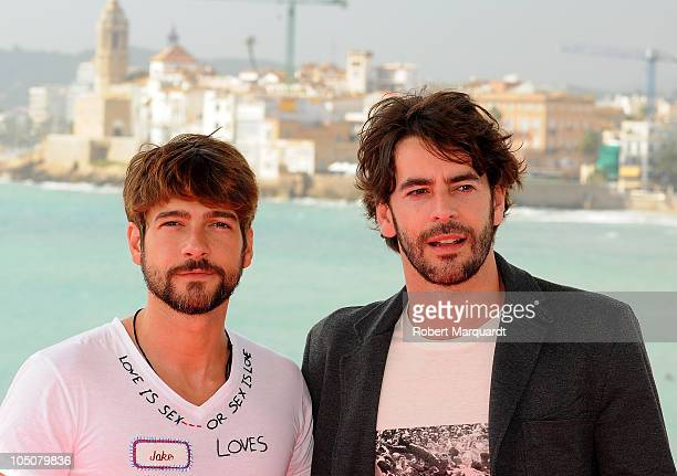 Felix Gomez and Eduardo Noriega attend a photocall and press conference for their latest film 'Agnosia' at the 43rd Sitges film festival on October 8...