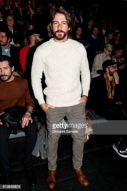 Felix Gomez is seen at the Angel Schlesser show during the MercedesBenz Fashion Week Madrid Autumn/Winter 201819 at Ifema on January 27 2018 in...