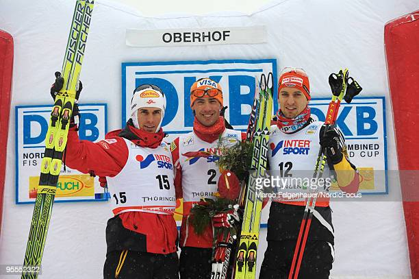 Felix Gottwald of Austria Johnny Spillane of the USA and Bjoern Kircheisen of Germany on the podium after the Gundersen 10km Cross Country event...