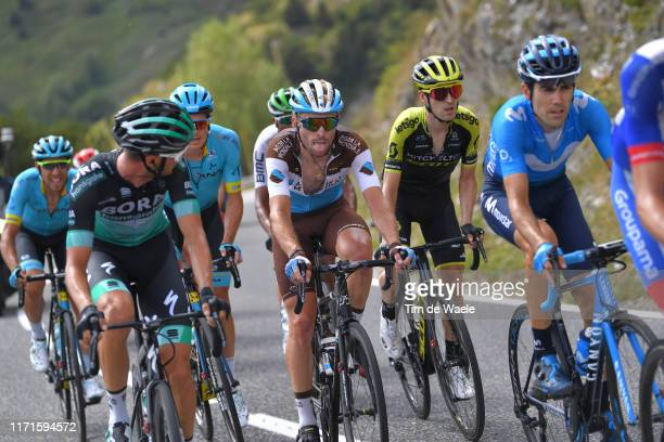Felix Großschartner of Austria and Team Bora-Hansgrohe / Jakob Fuglsang of Denmark and Astana Pro Team / Pierre Latour of France and Team AG2R La...