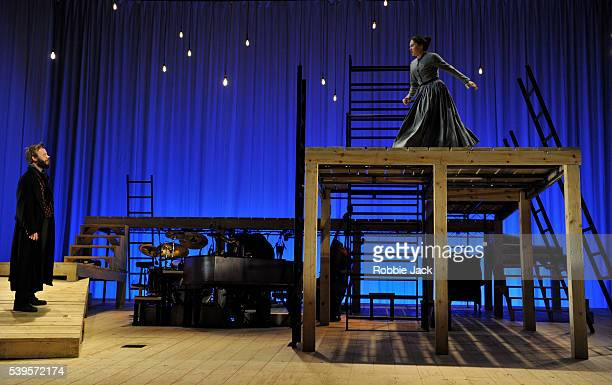 Felix Hayes Rochester and Madeleine Worrall as Jane Eyre in an adaptation of Charlotte Bronte's Jane Eyre directed by Sally Cookson at the National...