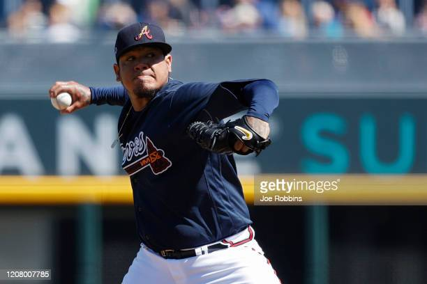 Felix Hernandez of the Atlanta Braves pitches in the second inning of a Grapefruit League spring training game against the Baltimore Orioles at...