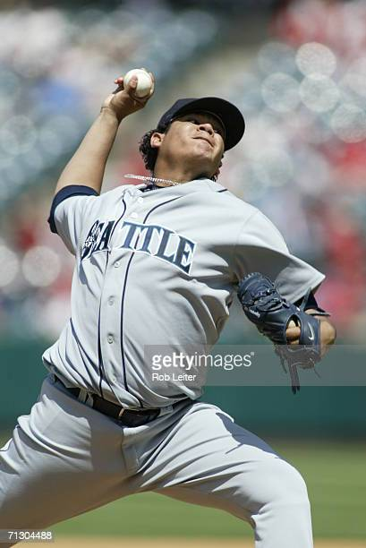 Felix Hernandez of the of the Seattle Mariners pitches during the game against the Los Angeles Angels of Anaheim at Angel Stadium in Anaheim...