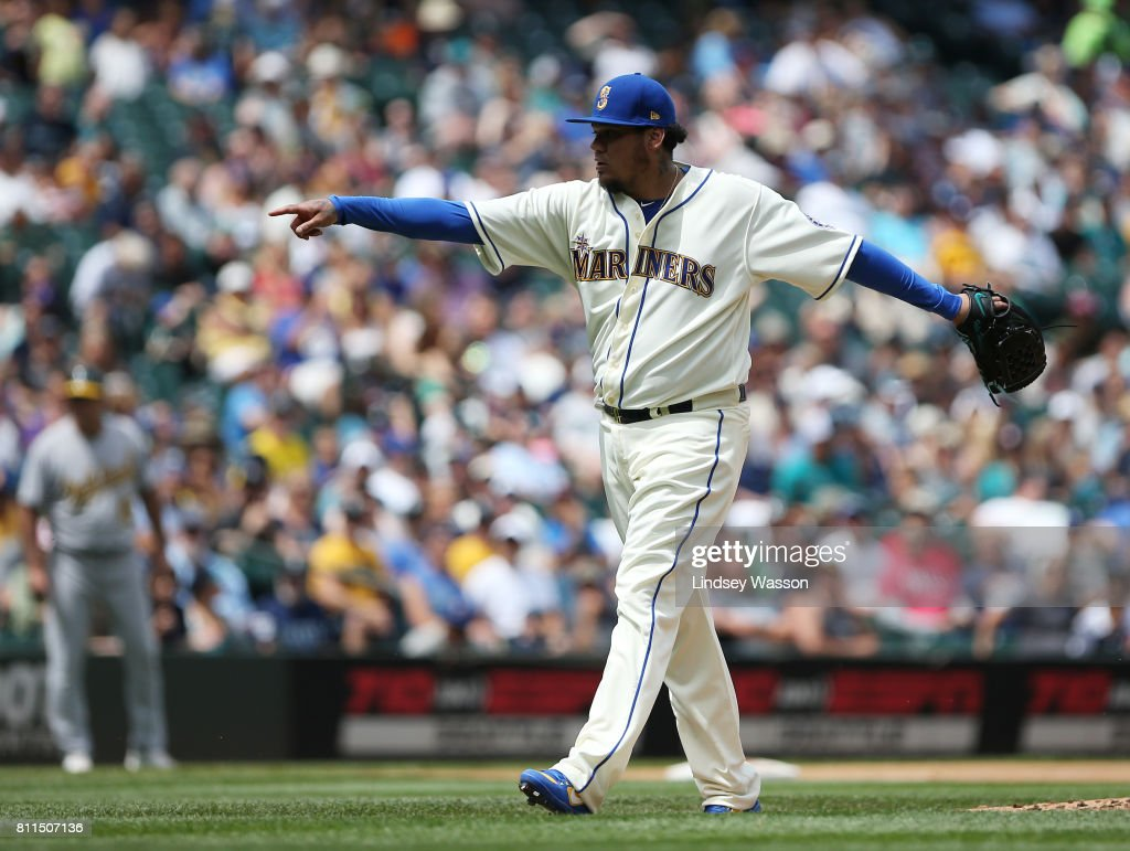 Felix Hernandez #34 of the Seattle Mariners celebrates his strikeout to end the top of the fourth inning against the Oakland Athletics at Safeco Field on July 9, 2017 in Seattle, Washington. Hernandez gave up only two hits in six innings.