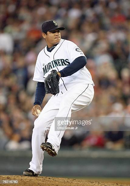 Felix Hernandez of the Seattle Mariners delivers the pitch during the game against the Chicago White Sox at Safeco Field August 19 2007 in Seattle...