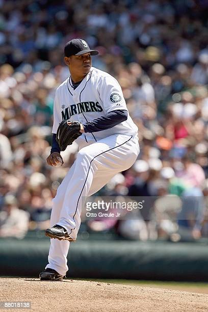 Felix Hernandez of the Seattle Mariners delivers the pitch during the game against the San Francisco Giants on May 24, 2009 at Safeco Field in...