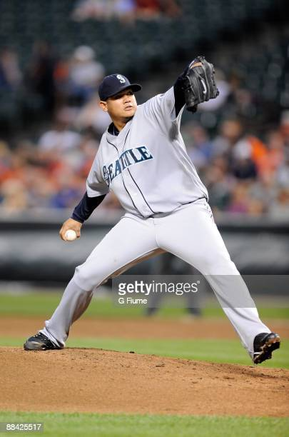 Felix Hernandez of the Seattle Mariners pitches against the Baltimore Orioles at Camden Yards on June 10 2009 in Baltimore Maryland