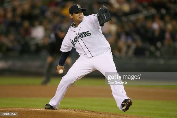 Felix Hernandez of the Seattle Mariners pitches against the Los Angeles Angels of Anaheim during the game on September 24 2008 at Safeco Field in...