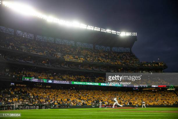 Felix Hernandez of the Seattle Mariners pitches against the Oakland Athletics in the first inning at T-Mobile Park on September 26, 2019 in Seattle,...