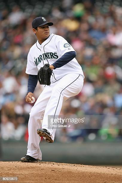 Felix Hernandez of the Seattle Mariners pitches against the Oakland Athletics on April 27 2008 at Safeco Field in Seattle Washington