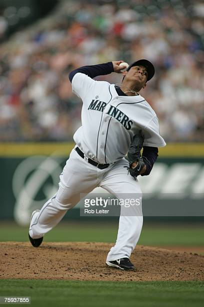 Felix Hernandez of the Seattle Mariners pitches during the game against the Detroit Tigers at Safeco Field in Seattle Washington on July 12 2007 The...