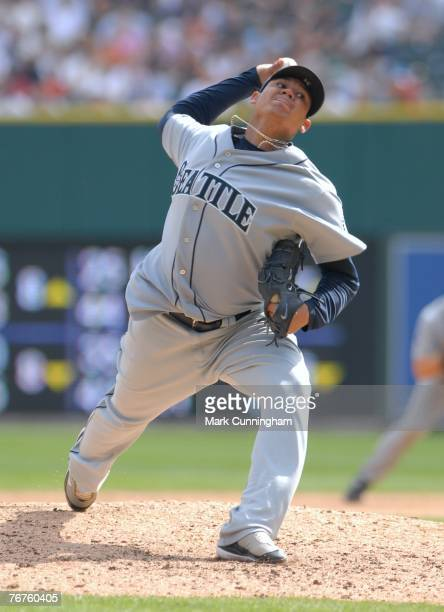 Felix Hernandez of the Seattle Mariners pitches during the game against the Detroit Tigers at Comerica Park in Detroit Michigan on September 9 2007...