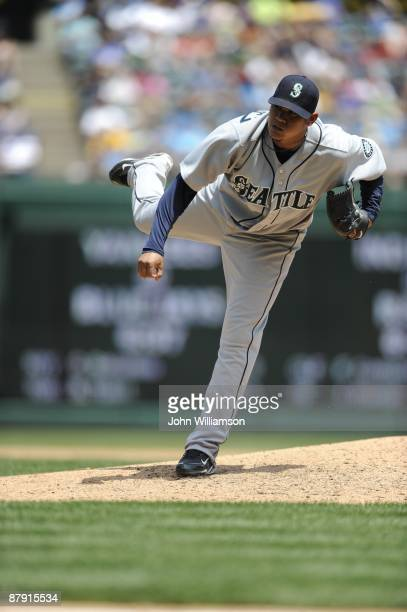 Felix Hernandez of the Seattle Mariners pitches during the game against the Texas Rangers at Rangers Ballpark in Arlington in Arlington Texas on...