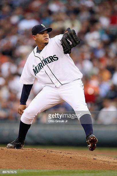 Felix Hernandez of the Seattle Mariners pitches during the game against the Chicago White Sox on August 12 2009 at Safeco Field in Seattle Washington
