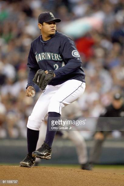 Felix Hernandez of the Seattle Mariners pitches during the game against the New York Yankees on September 18 2009 at Safeco Field in Seattle...