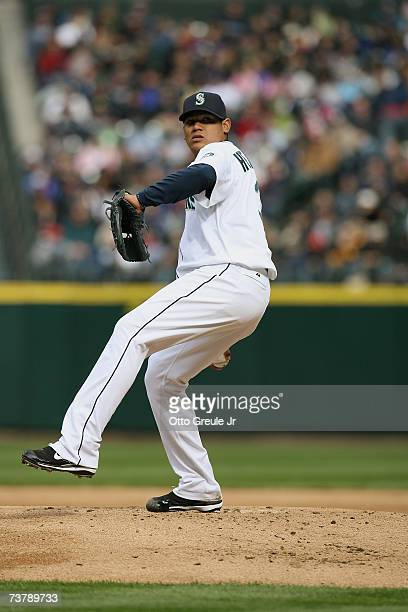 Felix Hernandez of the Seattle Mariners pitches during the opening day game against the Oakland Athletics at Safeco Field on April 2 2007 in Seattle...