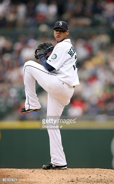 Felix Hernandez of the Seattle Mariners pitches during their MLB game against the Boston Red Sox on July 23 2008 at Safeco Field in Seattle Washington