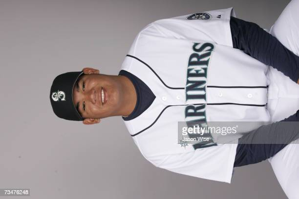 Felix Hernandez of the Seattle Mariners poses during photo day at Peoria Sports Complex on February 23 2007 in Peoria Arizona