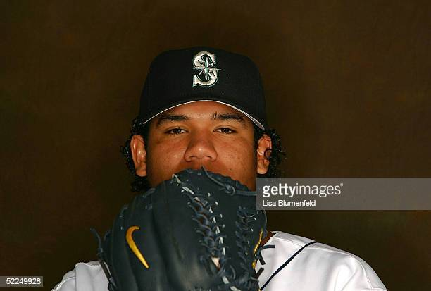 Felix Hernandez of the Seattle Mariners poses for a portrait during the Seattle Mariners Photo Day on February 27 2005 at Peoria Stadium in Peoria...