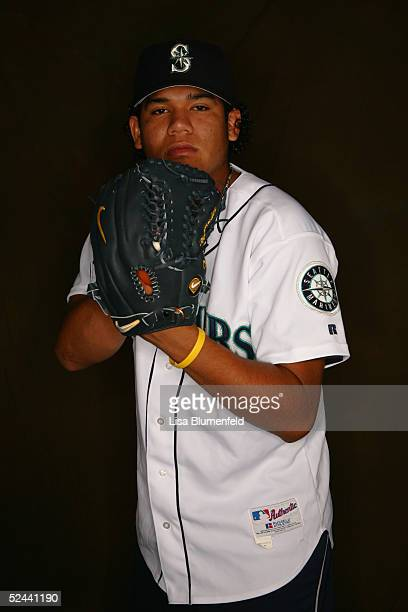 Felix Hernandez of the Seattle Mariners poses for a portrait during the Seattle Mariners Photo Day at Peoria Stadium on February 27 2005 in Peoria...