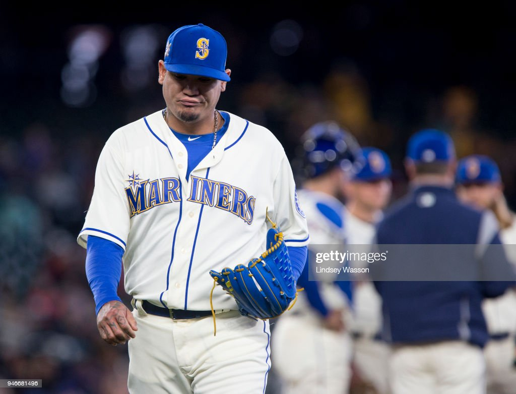Felix Hernandez #34 of the Seattle Mariners reacts as he is taken out of the game in the seventh inning against the Oakland Athletics at Safeco Field on April 15, 2018 in Seattle, Washington. All players are wearing #42 in honor of Jackie Robinson Day.