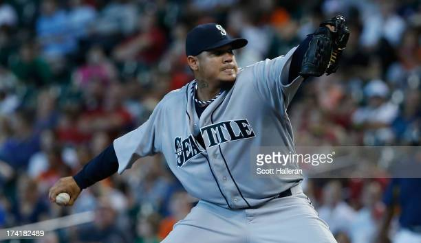 Felix Hernandez of the Seattle Mariners throws a pitch in the fifth inning against the Houston Astros at Minute Maid Park on July 21, 2013 in...