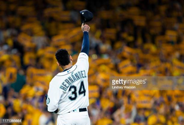 Felix Hernandez of the Seattle Mariners tips his cap to the crowd before the game against the Oakland Athletics at TMobile Park on September 26 2019...
