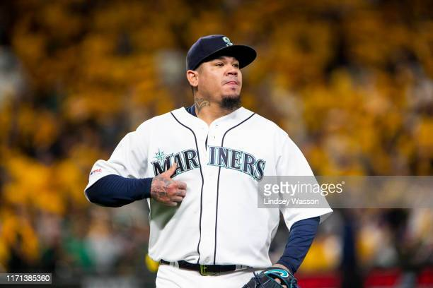 Felix Hernandez of the Seattle Mariners walks off the field after pitching in the first inning against the Oakland Athletics at T-Mobile Park on...