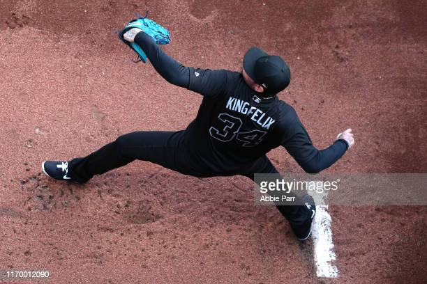 Felix Hernandez of the Seattle Mariners warms up prior to taking on the Toronto Blue Jays during their game at T-Mobile Park on August 24, 2019 in...