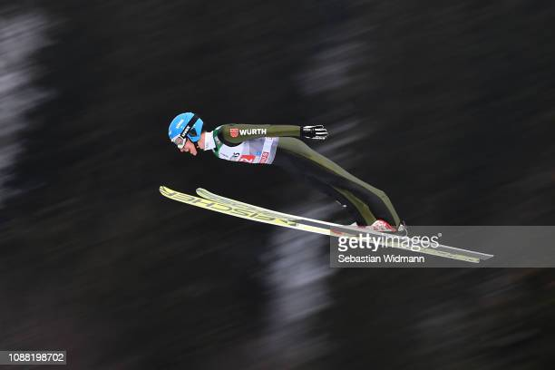 Felix Hoffmann of Germany flies during his practice jump on day 2 of the 67th FIS Nordic World Cup Four Hills Tournament ski jumping event on...