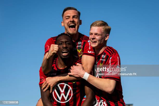 Felix Horberg of Ostersunds FK and Blair Turgott of Ostersunds FK celebrate after the 4-0 goal during the Allsvenskan match between Ostersunds FK and...
