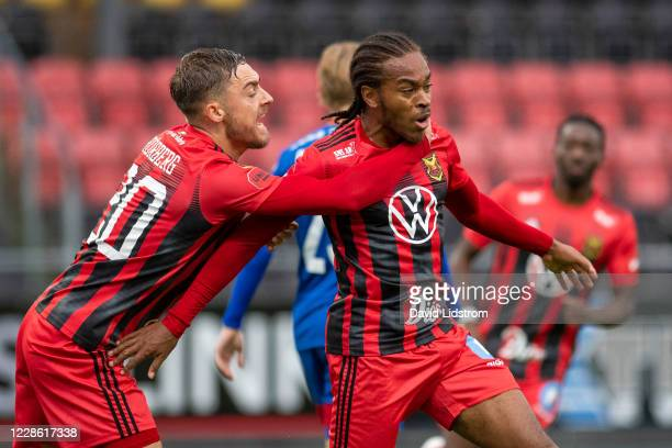 Felix Horberg of Ostersunds FK and Francis Jno-Baptiste of Ostersunds FK celebrate after the 1-1 goal during the Allsvenskan match between Ostersunds...