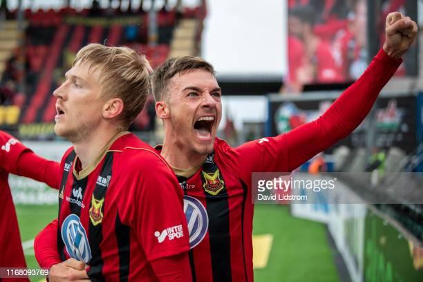 Felix Horberg of Ostersunds FK celebrates after scoring the 1-0 goal during the Allsvenskan match between Ostersunds FK and Kalmar FF at Jamtkraft...