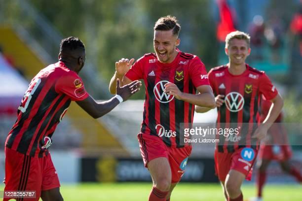 Felix Horberg of Ostersunds FK reacts after scoring the 2-0 goal during the Allsvenskan match between Ostersunds FK and Falkenbergs FF at Jamtkraft...