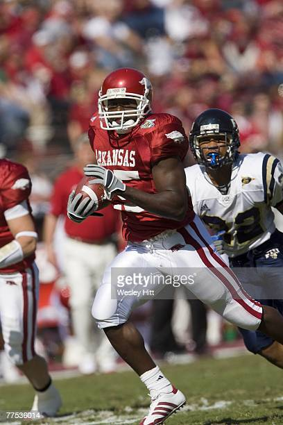 Felix Jones of the Arkansas Razorbacks runs with the ball during a game against the Florida International Golden Panthers at Donald W Reynolds...