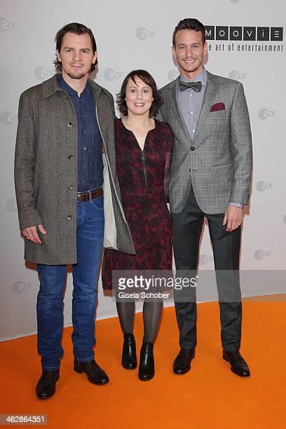 Felix Klare Eva Loebau Vladimir Burlakov attend the premiere of the film 'Der Clan Die Geschichte der Familie Wagner' at Gloria Palast on January 15...