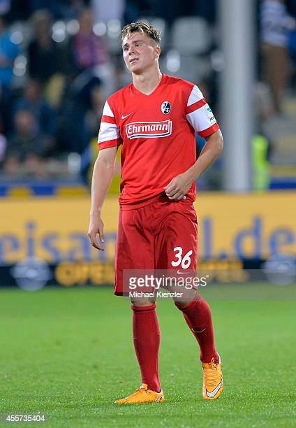 Felix Klaus of Freiburg leavs pitch after the Bundesliga match between SC Freiburg and Hertha BSC at Mage Solar Stadium on September 19 2014 in...