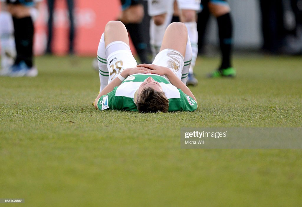 Felix Klaus of Fuerth lays down after the Bundesliga match between SpVgg Greuther Fuerth and TSG 1899 Hoffenheim at Trolli-Arena on March 9, 2013 in Fuerth, Germany.
