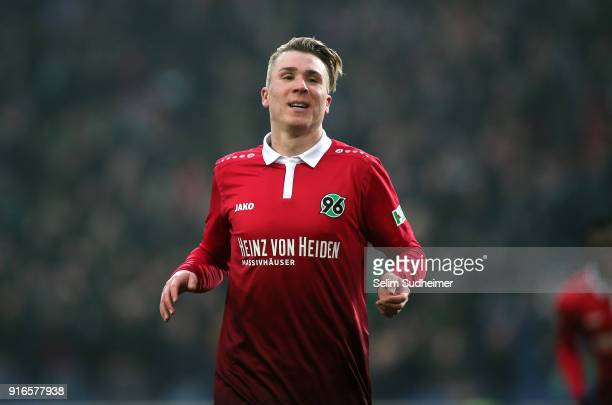 Felix Klaus of Hannover 96 celebrates his team's second goal scoring during the Bundesliga match between Hannover 96 and SportClub Freiburg at...